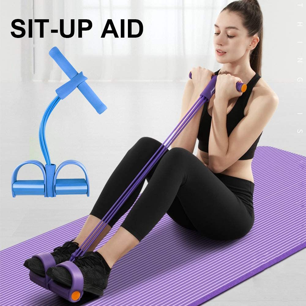 Bezioner Cuerda de Tensión Multifunción, 4 Tubos Banda de Resistencia del Pedal para Yoga, Fitness,Dominadas, Culturismo,para Gimnasio en casa