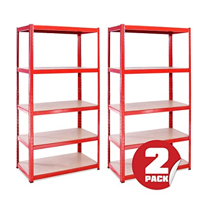 Garage Shelving Units: 180cm x 90cm x 45cm | Heavy Duty Racking Shelves for  Storage - 2 Bay, Red 5 Tier (265KG Per Shelf), 1325KG Capacity | For