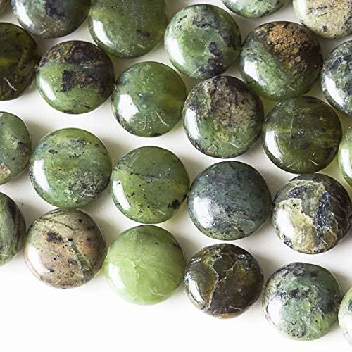 - Cherry Blossom Beads Chinese Jade Beads 10mm Smooth Coin - 8 Inch Strand