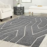 Cheap Mod-Arte Platinum Shag Collection, PS02-20458, Gray and White Area Rug, 5 feet by 8 feet (5'x8′)