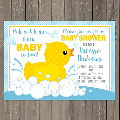 Rubber Duck Baby Shower Invitation, Rubber Ducky Baby Shower Invitation, Baby Boy Shower Invite in Yellow and Blue, Custom ()