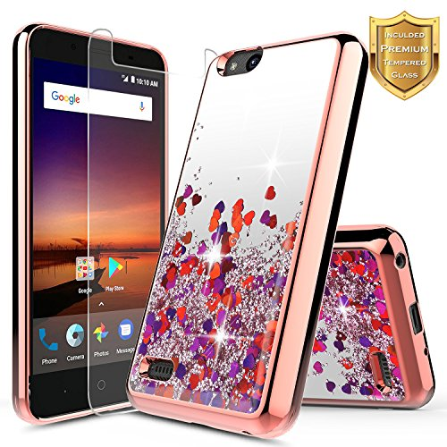 NageBee Glitter Quicksand Liquid Floating Sparkle Shiny Bling Cute Case w/ [Tempered Glass Screen Protector] For ZTE Blade Vantage (N837/Z839), ZTE Fanfare 3, ZTE Avid 4, ZTE Tempo X N9137 -Rose Gold