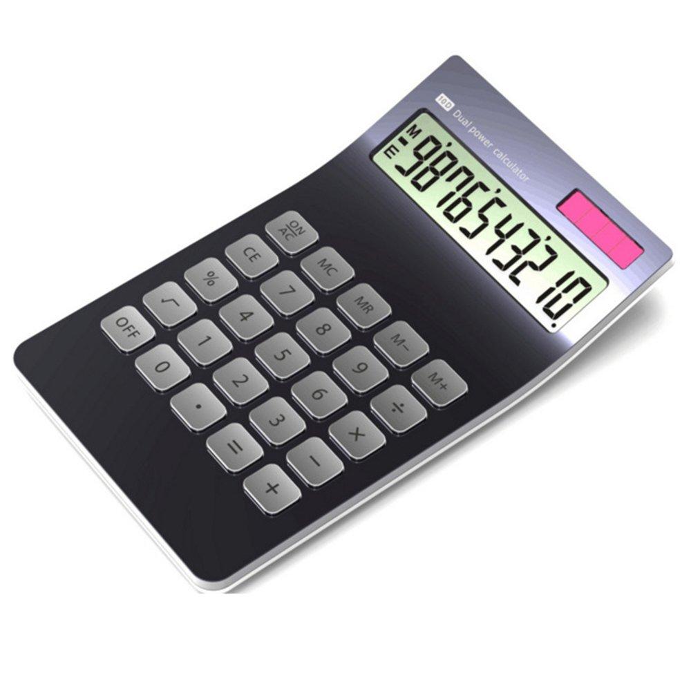 Calculator, 10-digit Electronic Desktop Calculator, Slim Elegant Design, Office/home electronics, Dual Powered Desktop Calculator, Tilted LCD Display, Inclined Design, Black