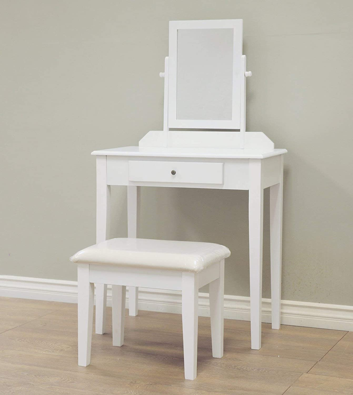 Frenchi Home Furnishing3 Piece Wood Vanity Set, White Finish