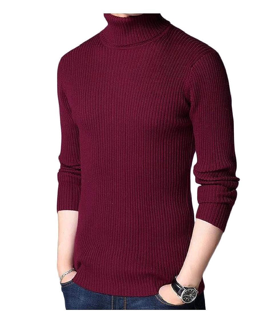 pipigo Mens All-Match Turtleneck Knitted Stripe Pullover Jumper Sweater