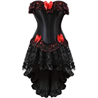 Women's Halloween Party Masquerade Gothic Brocade Lace Gothic Corset Skirt Set
