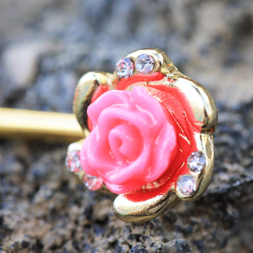 Covet Jewelry Gold Plated Multi-Clear CZ Pink Rose Nipple Bar