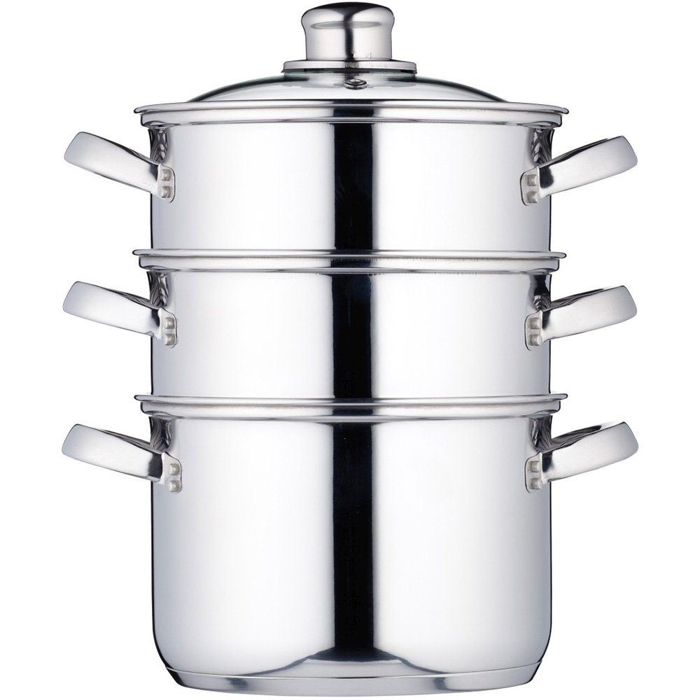 Kitchen Craft Clearview KCCVSTEAM - Vaporera de 3 pisos en acero inoxidable (18 cm)