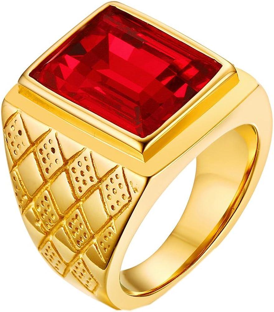 PMTIER Hombres 18K Oro Chapado Negrita Acero Inoxidable Anillo con Rojo Piedra