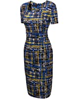 UDORA Square Neck Optical Illusion Business Pencil Midi Dress