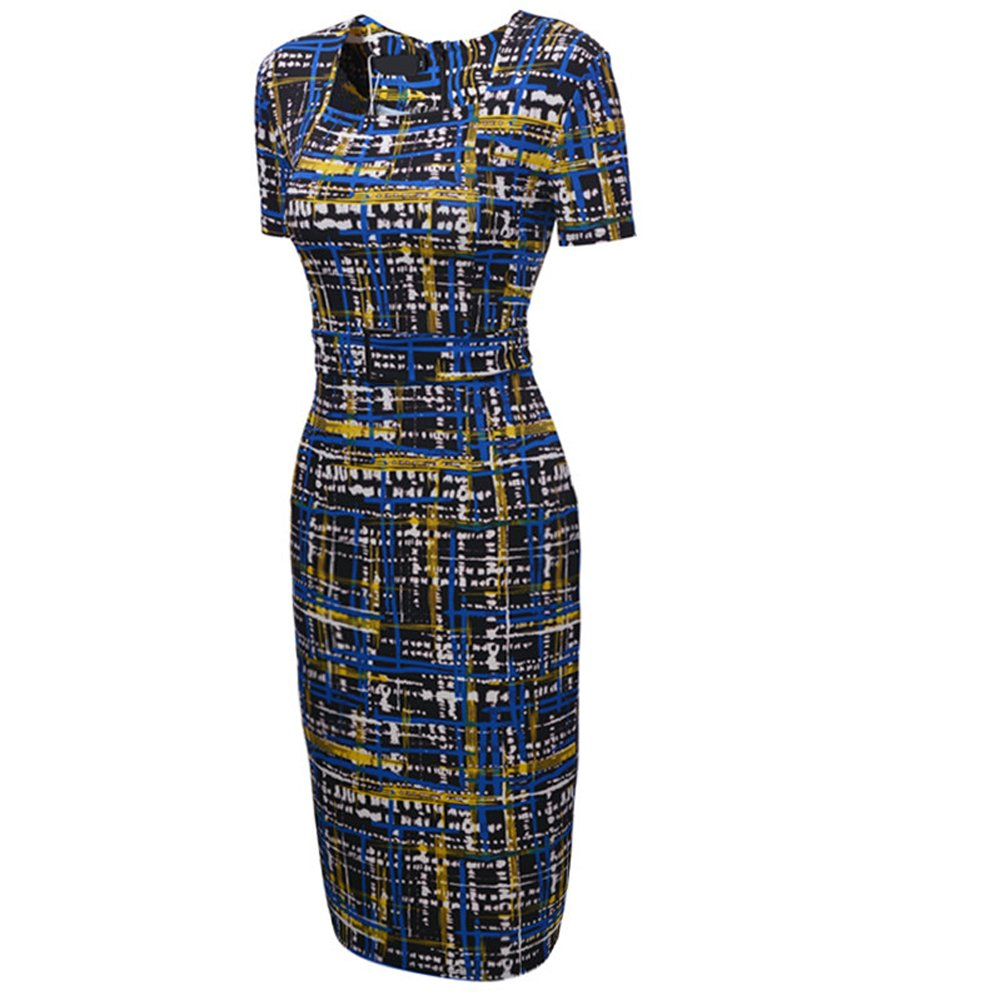 UDORA Square Neck Optical Illusion Business Pencil Midi Dress (L)