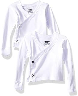 69eb58006 Amazon.com: Gerber Unisex-Baby Newborn 2 Pack Long Sleeve Side Snap ...
