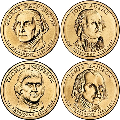 Coin Presidential Dollar 4 2007 (2007 P Presidential Dollar 2007 P Complete Set of all 4 Presidential Dollars Uncirculated Uncirculated)