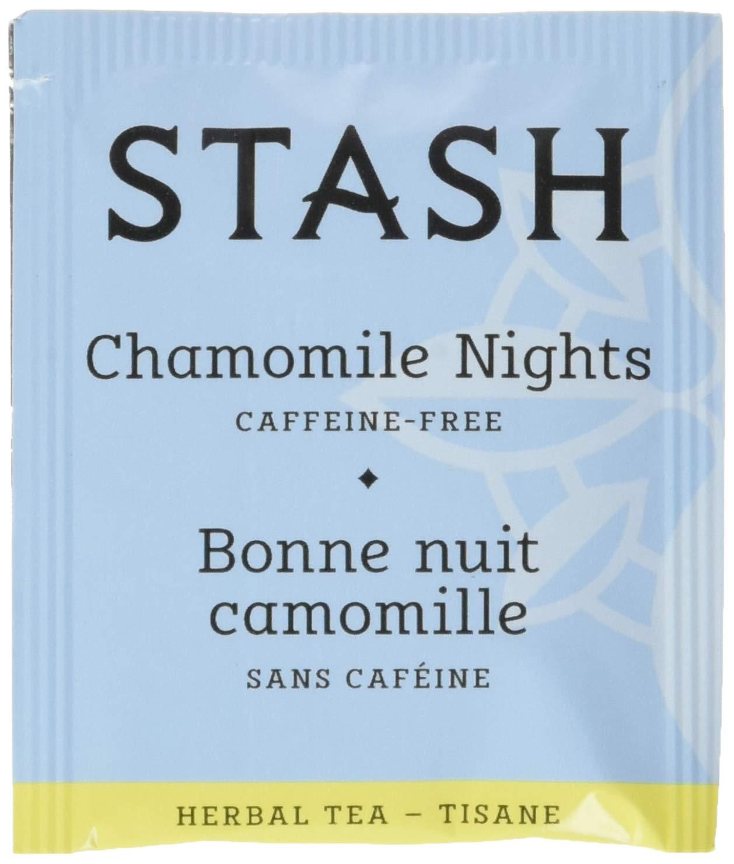 Stash Tea Chamomile Nights Herbal Tea 100 Count Tea Bags in Foil (Packaging May Vary) Individual Herbal Tea Bags for Use in Teapots Mugs or Cups, Brew Hot Tea or Iced Tea