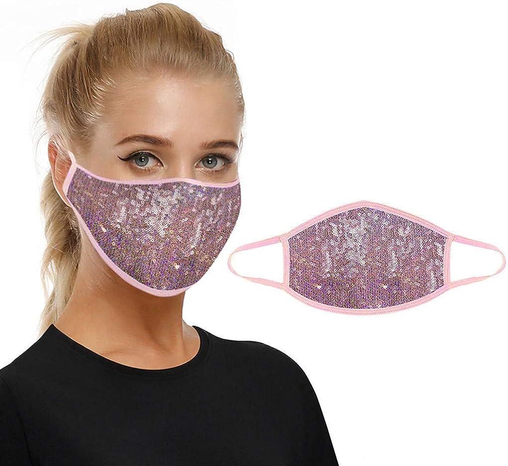 RUIRUILICO Mascarillas Facial De Purpurina Multifuncional Bufanda 3d Brillante y Transpirable Con Filtro,Mascarillas De Lentejuelas Para Fiestas De Moda