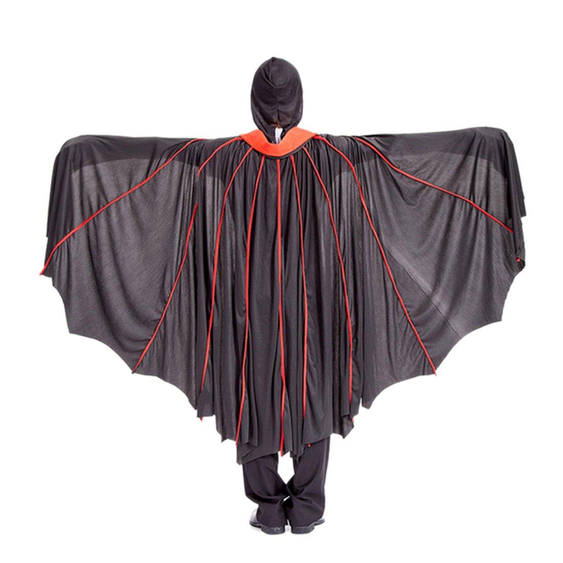 BANYANN Halloween Cosplay DekorPartei Kleidung vertikale Streifen Mantel Cosplay Teufel Umhang mit Maske und Nagel Set - rot + schwarz