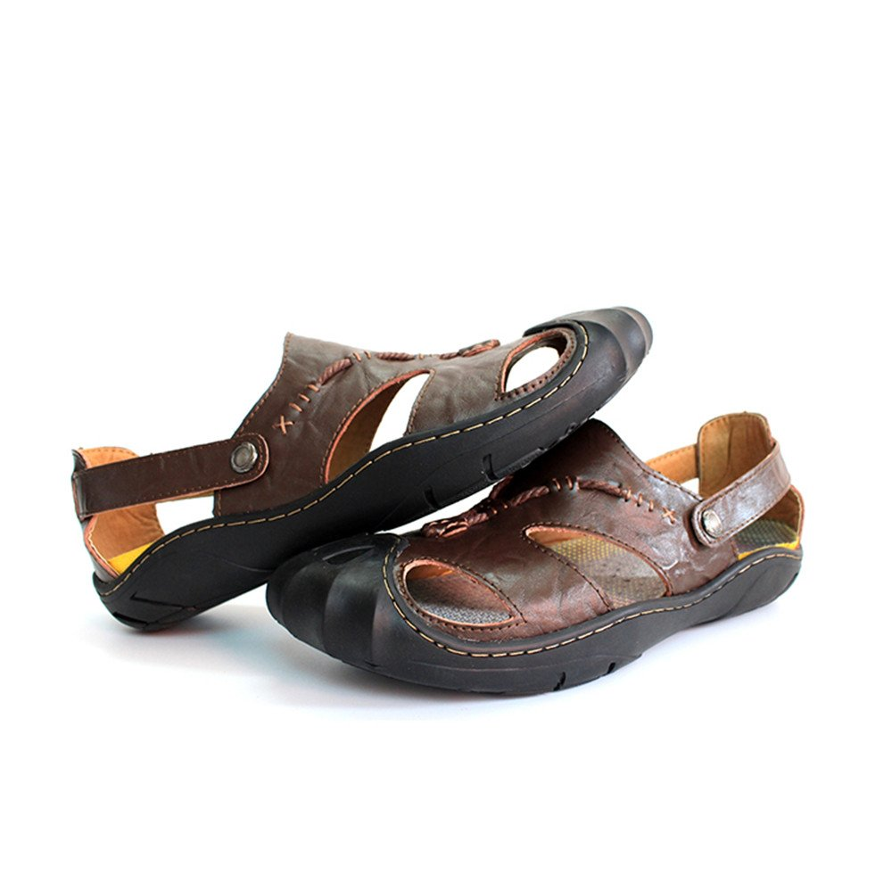 Sandals for Men, Men's Genuine Leather Beach Slippers Casual Non-Slip Non-Slip Casual Soft Flat Closed Toe Sandals Shoes No Glue, Spring/Summer 2018 6.5MUS|Brown B07D34WKPP 61250a