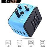 Universal Travel Adapter, International Power Adapter, Travel Plug Adapter, Worldwide Travel Plug, All In One Travel Outlet Adapter with 4 USB 3.4A, for UK, EU, US, AUS, and more 170 countries (blue2)