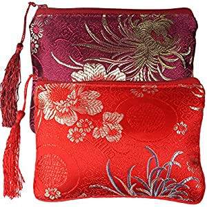 kilofly Chinese Silk Brocade Padded Tassel Zipper Jewelry Pouch Bag, Set of 2