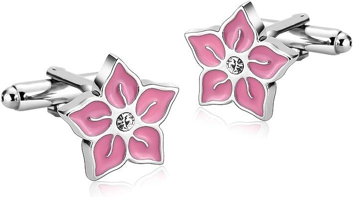 Blisfille Gemelos 2 Pieces Joyeria para Bebes Gemelos Acero Inoxidable Personalizados,Flor de Diamante Gemelos Camisa Hombre Plata Rosado: Amazon.es: Joyería