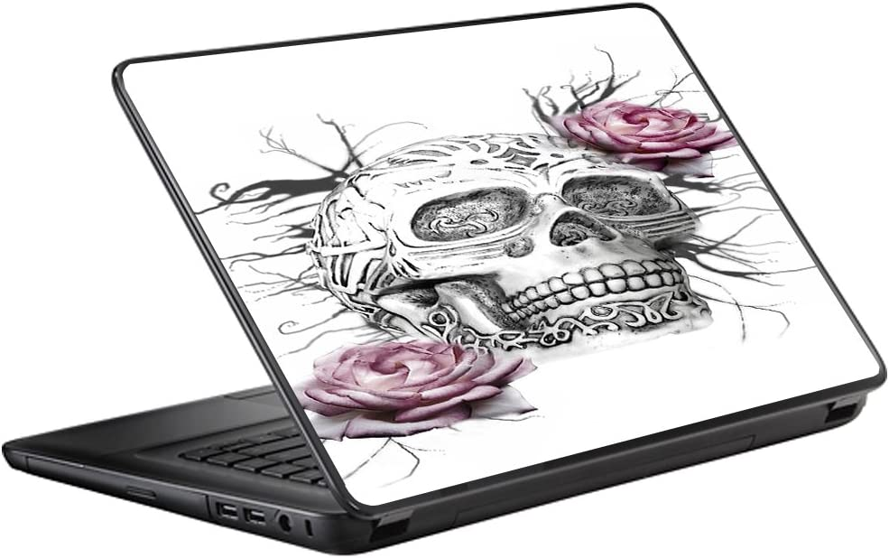 """Protective Vinyl Skin Decal for HP 2000 Laptop (2013-14) 15.6"""" 15"""" cover sticker skins decals / Roses in Skull"""