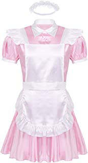iiniim Men's Sissy French Maid Button Down Dress Cosplay Costume with Apron and Headband