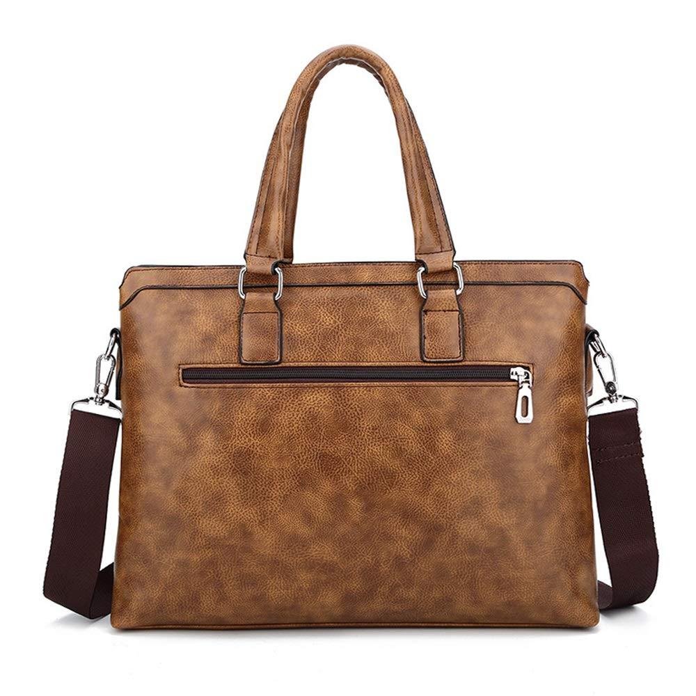 Color : Brass Mens briefcase Fashion Business Briefcase Computer Tote Mens Shoulder Messenger Bag Leather Bag 39x5x28cm XFRJYKJ