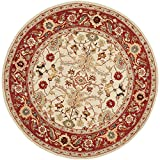 Safavieh Chelsea Collection HK751C Hand-Hooked Ivory and Red Premium Wool Round Area Rug (5'6″ Diameter)