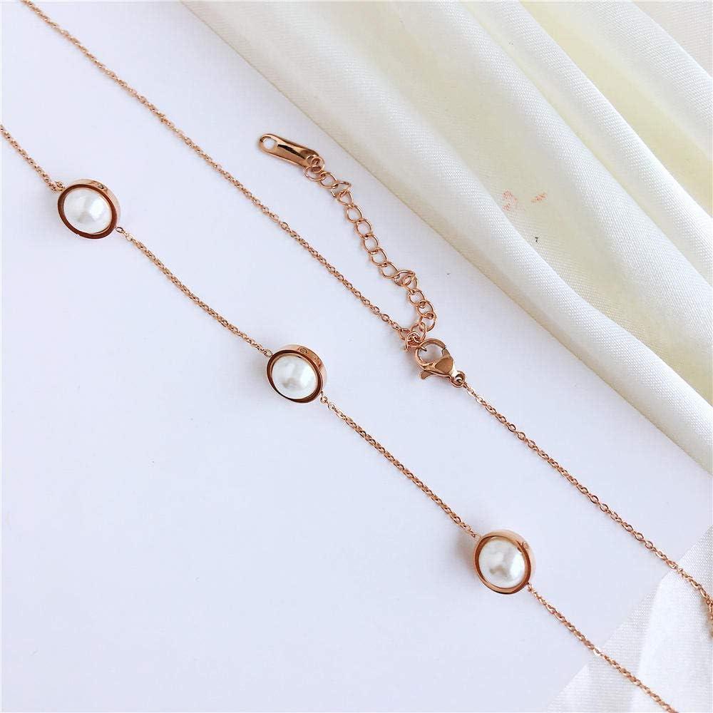 BAIMM Wild S925 Collar de Plata esterlina Chapado en Oro Rosa de 18 Quilates Temperamento Popular 3 Collar de borlas de Perlas Joyería Femenina Elegante