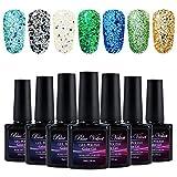 7PCS Gel Nail Polish Kit Blue Velvet Soak off UV LED Glitter Gel Polish Nail Art Manicure Gift Set 10ml