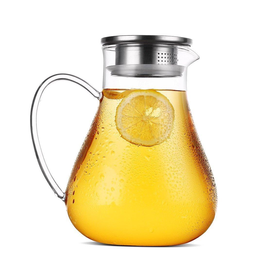 Glaskrug mit Edelstahl-Teefiltereinsatz und Ausguss im Deckel von JIAQI. Handgefertigter Wasserkrug, ideal für heißes und kaltes Wasser, Eistee und Saft, Getränke-Karaffe, glas, durchsichtig, 1.9L Getränke-Karaffe GYBL319