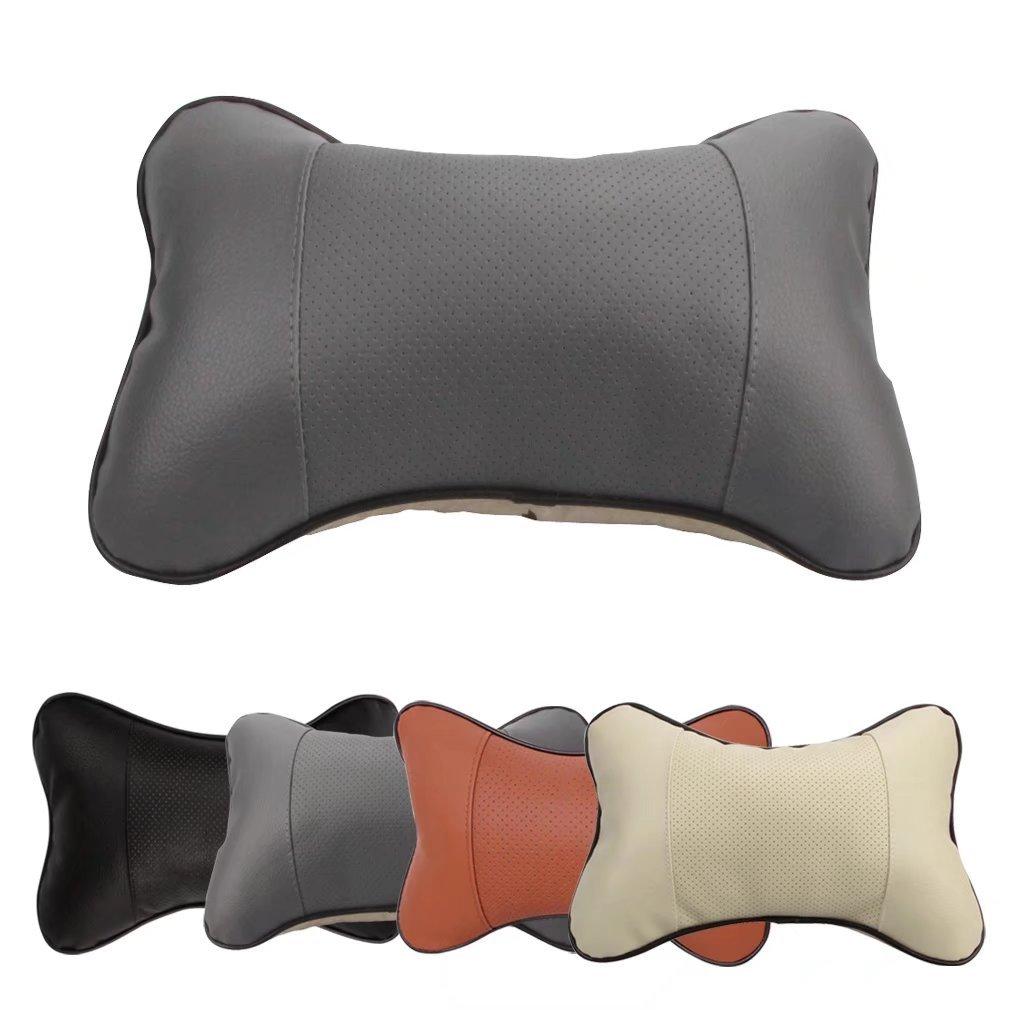 Beige 2 Piezas Almohadas de Cuello Jayboson Cuero PU Suave Transpirable Almohada de Viaje Asiento de Coche Coj/ín para el Reposacabezas