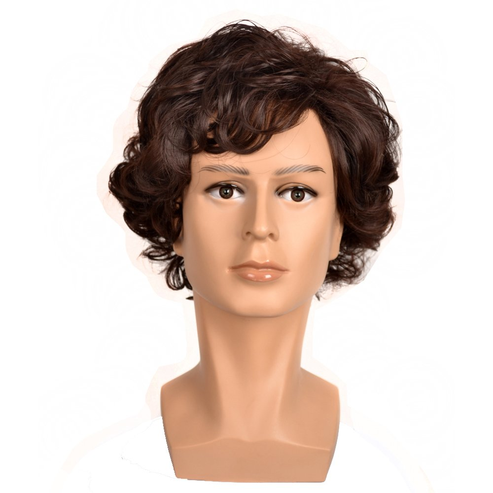 Yuehong Sherlock Holmes Short Curly Brown Cosplay Wig Halloween Cosplay Free Shipping by yuehong