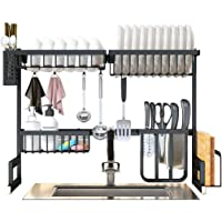 Lixada Over the Sink Stainless Steel Dish Rack Dish Drainer Drying Dryer Rack Holder with Draining Board Chopsticks Holder for Kitchenware