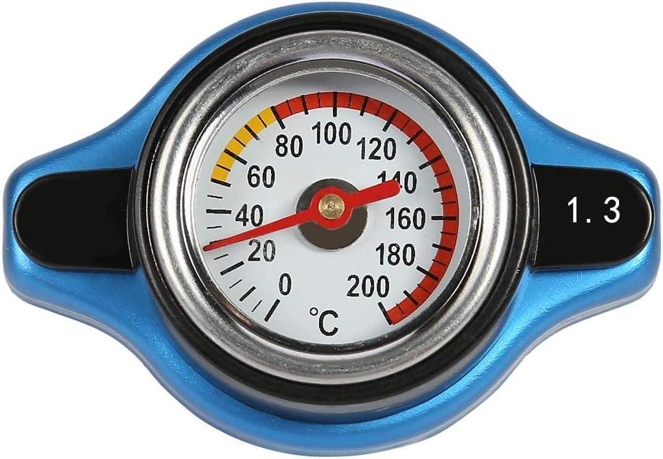 Cubierta del Tanque de Agua del Coche con termómetro, Caja Fuerte para Mejorar la presión del radiador, Cubierta de presión del Tanque Universal modificada Fuera de la Carretera