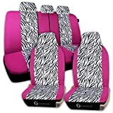 Zone Tech Universal Car Seat Covers - 7-Piece Set Zebra Prints Car Seat Covers, Airbag and Split Bench ready, Pink/White color