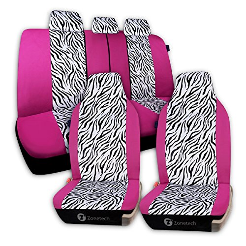 Zone Tech Universal Car Seat Covers - 7-Piece Set Zebra Prints Car Seat Covers, Airbag and Split Bench ready, Pink/White color (Pink Seat Covers For Cars compare prices)