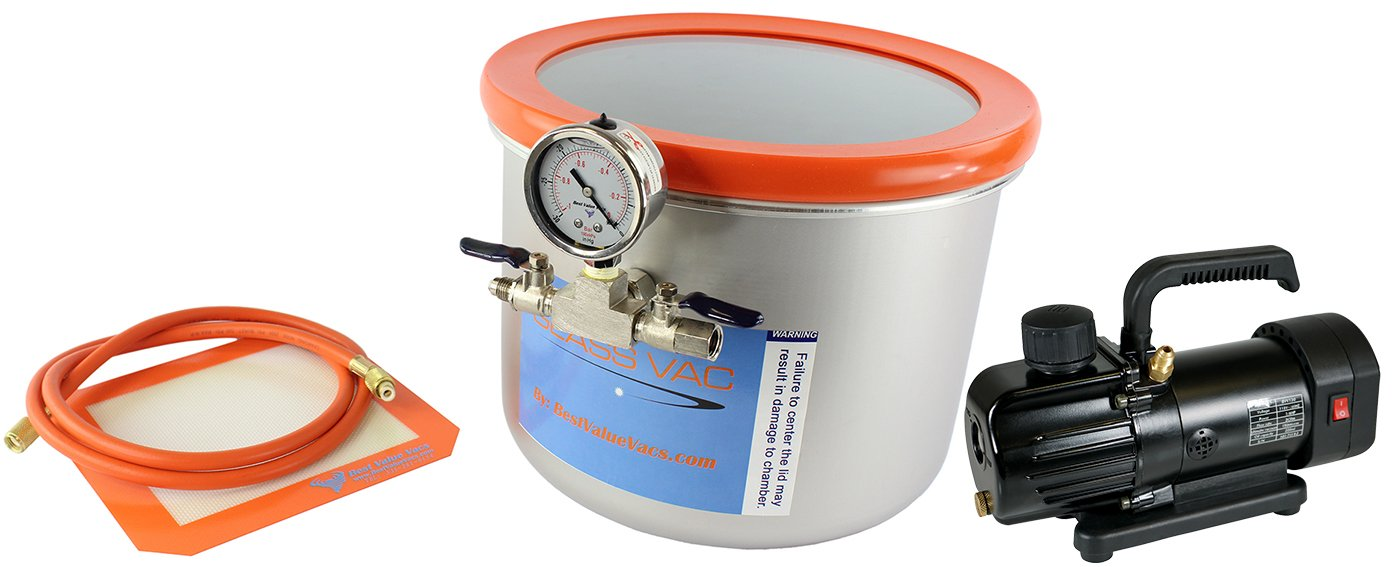 Glass Vac 3 Gallon Wide Stainless Steel Vacuum Chamber and BVV130 3CFM Single Stage Mini Vacuum Pump Kit
