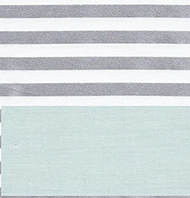 CARO Home Fabric Shower Curtain - Teal, White, and Silver Stripe
