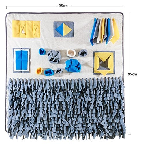 Petmeng Pet Toy for Nosework Premium Blanket, Snuffle Mat, Polyester, 38in x 38in (Grey) by Petmeng Pet