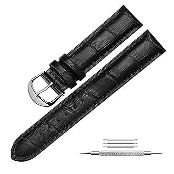 0910c64113f4 mysunny Hombre y Mujer Correa Reloj de Cuero Genuino Repuesto Compatible  Con Relojes Moda Smartwatch Hebilla de Aguja De Acero Inoxidable Negro  22mm  ...