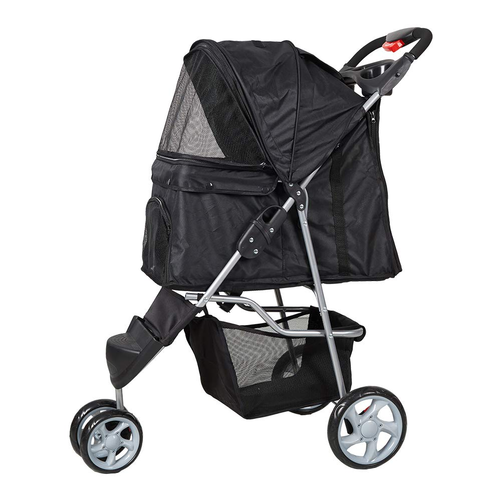 Lucky Tree Pet Stroller Cat Dog Foldable Travel Carrier Cart 3 Wheels 4 Wheels, Easy Walk Jogger Jogging