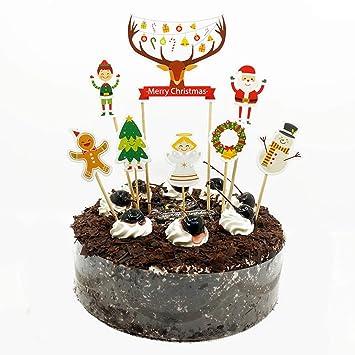 Cici Store 8pcs Christmas Elk Birthday Cake Topper
