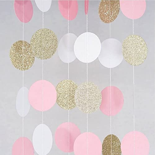 glitter paper garland circle dots hanging decor for christmas wedding bridal showers birthday party baby shower