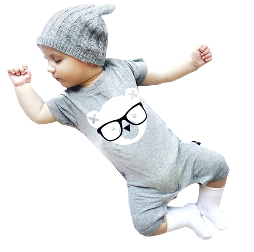 33c9db59 Amazon.com: Infant Baby Summer Gray Short Sleeve Romper ...