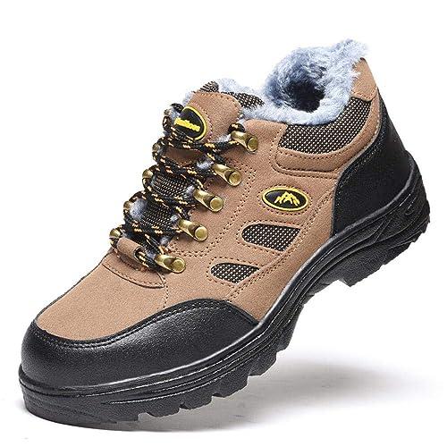 Mujer Hombre Zapatillas de Seguridad,Transpirables Comodas Ligeras Punta de Acero Zapatos de Deporte Senderismo