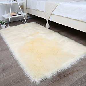 Area Rug Thick Faux Fur Sheepskin, Rectangle Plush Carpet Soft Floor Rug Bedside Rugs for Living Bedroom Home Decor-Yellow Square30x30cm(12x12inch)