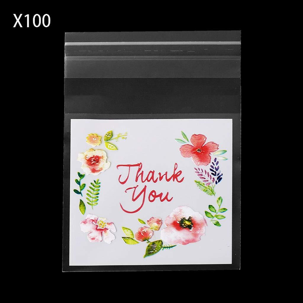 Tebatu 100ピース DIY 自己粘着バッグ プラスチック Thank You クッキーパッケージ キャンディバッグ ギフト 5.5x5.5cm/2.17x2.17in ピンク 5AC700731-S_BXDLB B07H85WP5K  5.5x5.5cm/2.17x2.17in