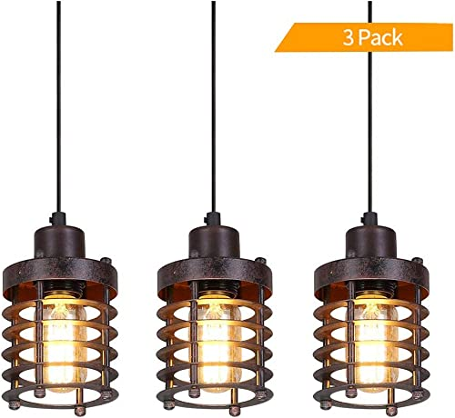PIHAPPY Retro Vintage Barn Ceiling Hanging Lamp Pendant Light Rustic Adjustable Mini Metal Cage Shade Modern Light Fixture 3 Pack Without BLUBS Bronze