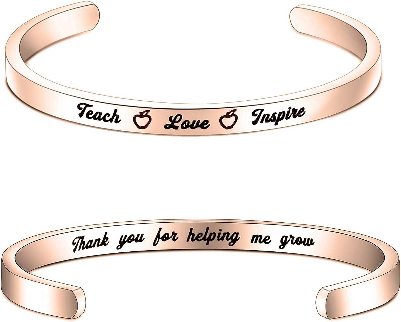 Teacher Appreciation Gift Teacher Gift Bracelet for Teacher Teacher Gifts Teach Love Inspire Appreciation Week End of Year Gift